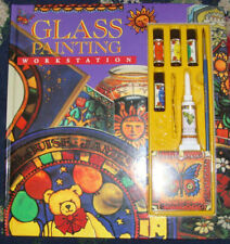 Glass painting work station paints and book ages 8 and up never used ages 8+