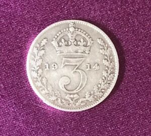 1914 Silver 3d Threepence George V - 92.5% silver