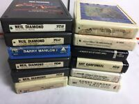 Lot of 8 Track Tapes, Neil Diamond,Barry Manilow, Jerry Lee Lewis, 12 Tapes