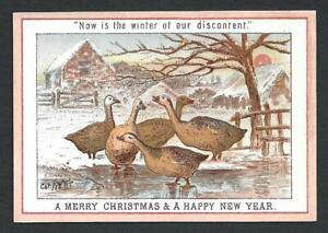 Y32 - GEESE - WINTER OF DISCONTENT - 1872 - GOODALL - VICTORIAN XMAS CARD