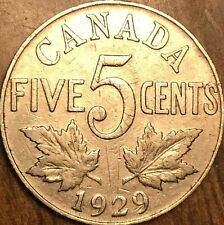 1929 CANADA KING GEORGE V 5 CENTS COIN - KM #29