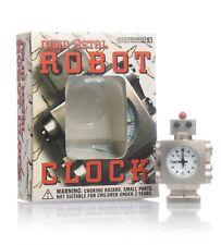 "RETRO SOLID METAL ROBOT CLOCK 1.75"" ACCOUTREMENTS 1996 W/ BOX"