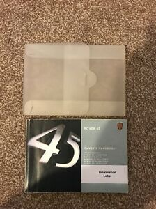 Rover 45 Owners Handbook (With Plastic Wallet) With Service record