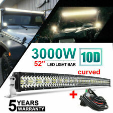 "52INCH 3000W 12D Tri-Row Curved LED LIGHT BAR Spot Flood COMBO VS 50"" /w Wire"