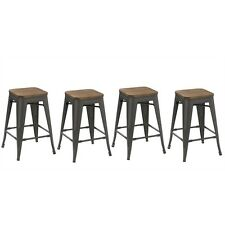 Btexpert® 24-inch Metal Vintage Antique Style Gunmetal Counter Bar Stool Modern