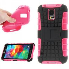 Backcover Hybrid Robot Pink für Samsung Galaxy S5 Cover Case Hülle Schutz Top