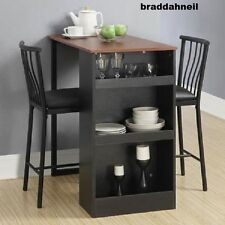 Counter Height Dining Table Small Kitchen Set Small Space Dinner Chair 3Pc Black