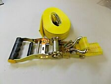 Heavy Duty Ratchet Strap Yellow 27' Dichromate Finished Rachet & Double J Hooks