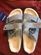 Birkenstock Wool Felt Arizona Rivet Size US W10/M8 Light Gray NWT