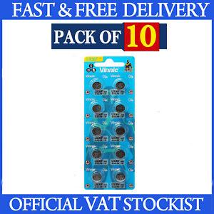 10 x L936 394 Batteries Vinnic Alkaline 1.5V AG9 380 LR936 Coin Cell