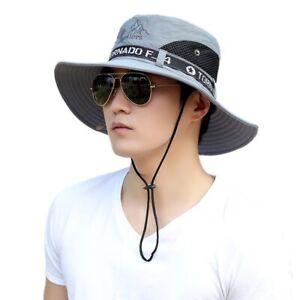 Men Women UPF 50+ Sun Bucket Hat UV Protection Wide Brim Mesh Fishing Boonie Hat