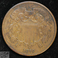 1870 Two Cent Piece, Very Fine+ Condition, Free Shipping in USA, C4927
