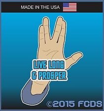 Live Long & Prosper Tribute Decal Sticker for Cars Trucks Phones Laptops