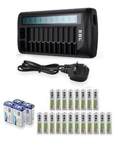 EBL 12 Slots LCD Battery Charger And AA AAA NI-MH NI-CD 9V Batteries