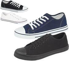 Mens Canvas Shoes Plimsole Trainer Pumps Lace Up Flat Summer White Shoes