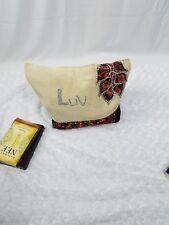 Handmade African Ankara Rhinstone LUV Gift Tote Bag With Burlap Hand Bag Women