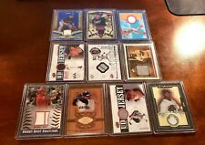 HUGE GAME USED JERSEY & BAT RELIC BASEBALL CARD LOT OF 10 ALL STARS! (2794)