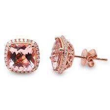 4.06CT F VS Morganite & Diamond Halo Cushion Cut Studs 14kt Rose gold Earrings