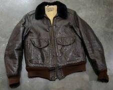 Vintage 50s LL Bean Goat Skin Lined Leather Flight Bomber Jacket Mens Medium USA