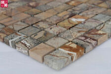 Marmor Mosaik marmoriert Fliesenmosaik 5 Stück Rest Ware Braun Beige Grau Weiß