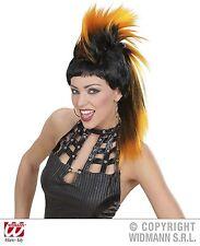 ARANCIONE & Nero Parrucca Punte Punk Rocker Spikey Mohican 80's Rocker Costume