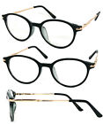 Round Small Reading Glasses Readers Clear Lens Metal Arms Spring Hinge RE48