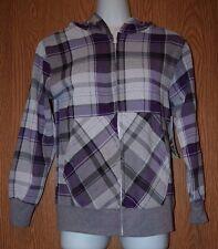 Womens Pretty Plaid Massive 3/4 Sleeve Hooded Jacket Size Small NWT NEW