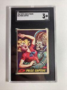 1962 TOPPS MARS ATTACKS PRIZE CAPTIVE CARD NO.21 SGC 3 VG
