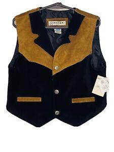 Roper Western Vest Boys Size L 12-14 Suede Lapel Black Brown 02-094-0500-0602 BL