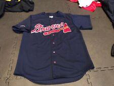 Majestic Atlanta Braves Old School Navy Sewn Jersey Mens XL