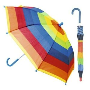 DUA Lightweight Kids Children Striped Umbrella Rainbow