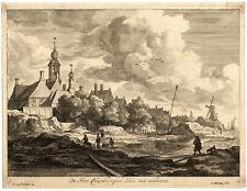 Antique Master Print-LANDSCAPE--HOUSE HUYDECOOPER-Blooteling-Ruisdael-ca. 1670