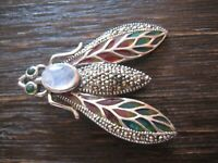 Insekten Brosche Anhänger Falter Motte Schmetterling 925er Silber buntes Emaille