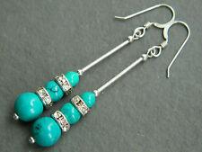 Turquoise Gemstone, Swarovski Crystal Rondelles & 925 Silver Long Drop Earrings