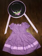 NWOB American girl doll Addy ~ SUNDAY BEST DRESS  HAT Retired Purple Dress