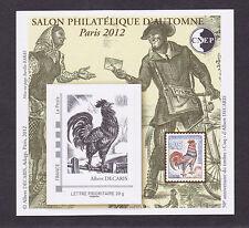 BLOC CNEP N° 62 ** MNH,  SALON D'AUTOMNE PARIS 2012, Cinquentenaire Coq Decaris