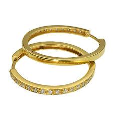 Ohrringe Gold Creolen Silber 925 Gelbgold vergoldet 2 cm Damen Unisex Ohrschmuck