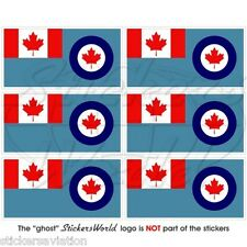 CANADA Canadian AirForce AIRCOM Flag, Mobile Cell Phone Mini Stickers, Decals x6
