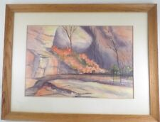 "Theron Trombeau 1911-79 New Mexico Watercolor Landscape Painting ""A Quiet Pool"""