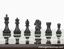 Luxury handmade wooden chessmen-pieces-weighted, felted-extra queens-BLACK
