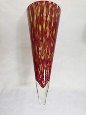"Huge Murano Bavai Conicity Art Glass Red & Yellow Pendant Light Shade, 23 1/2"" T"