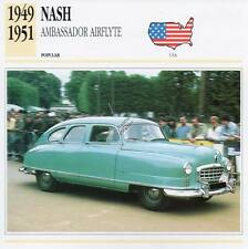 1949-1951 NASH AMBASSADOR AIRFLYTE Classic Car Photograph/Information Maxi Card