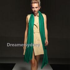 PURE WOOL Women Oversize Long Scarf Pashmina Cashmere Shawl Wrap Emerald Green
