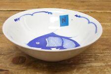 1 China Koi Catfish Fish Soup Cereal Bowl Blue on White 6 1/4'' N Asian Sea