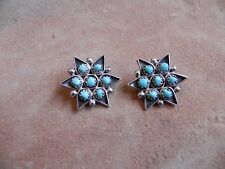 Turquoise cluster Sterling Silver STAR CLIP-ON Earrings Zuni