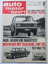 Auto Motor Sport 8/1967, Test: NSU TTS, Lancia Fulvia Coupé