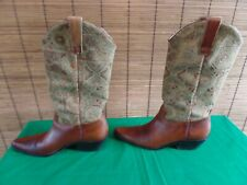 Vintage Matisse Tapestry Brown Leather Western Boots Womens 8.5 M