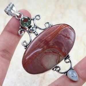 "Red Jasper 925 Silver Plated Handmade Gemstone Pendant of 3"" Ethnic Gift"