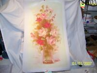 """#04.oil painting on canvas Still life Roses 27""""X15"""" signed-Looper, number-305674"""