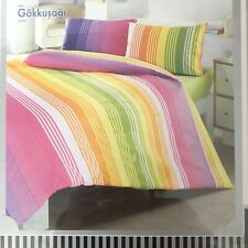 Luxury King Size Duvet Cover Set Color Block Rainbow Stripe Altinbasak Creaforce